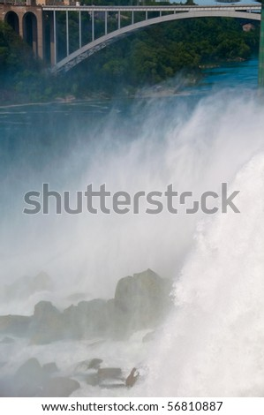 The power of the thundering waters of Bridal Veil Falls at Niagara Falls State Park in New York, USA.