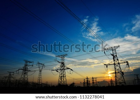 The power supply facilities of contour in the evening #1132278041