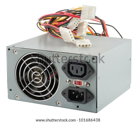 The power unit of the personal computer on a white background