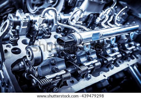 The powerful engine of a car. Internal design of engine.