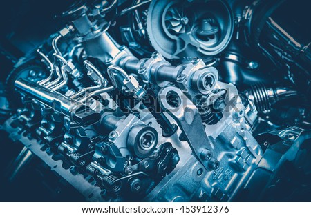 The powerful engine of a car. Internal design of engine. Car engine part. Modern powerful car engine. #453912376
