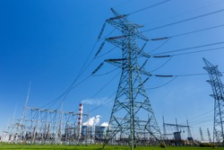 The powerlines at the power station in Poland Opole