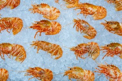 The prawns are on ice. Freshly caught prawns in a shop window. Fresh seafood. Fish shop. Gifts of the sea. Fish delicacies. Healthy food. Crustaceans lie on the ice.