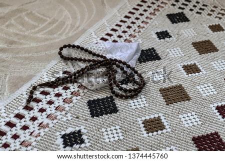 The prayer rug  prayer beads  prayer hat  #1374445760