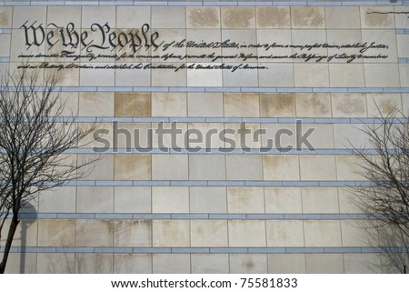 The preamble to the US constitution on the wall of The Constitution Center in Philadelphia.