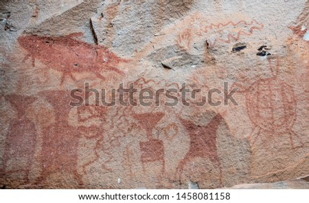 The prehistoric art painting 3,000 year-old cliff paintings of Pha Taem National Park in Ubon Ratchathani province of Thailand