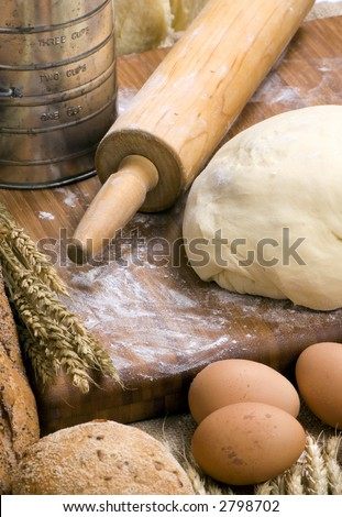 The preparations for making fresh homemade bread.