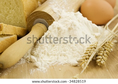 The preparations for making fresh homemade bread