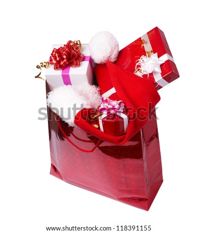 The presents in the box with red hat - stock photo