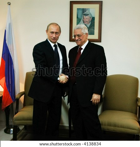 The president of Russia Vladimir Putin and the President of  of the Palestinian National Authority Mahmoud Abbas