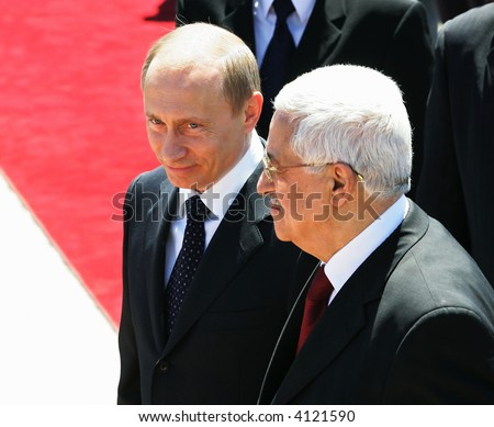 The president of Russia Vladimir Putin and the President of the Palestinian National Authority Mahmoud Abbas