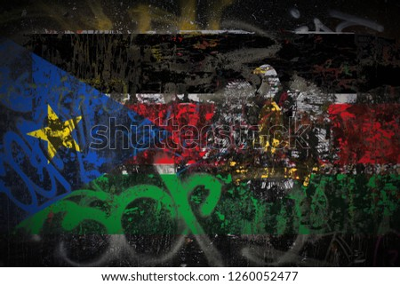 the President of South Sudan flag painted on dirty street wall with graffiti texture background. National political symbol street art. #1260052477