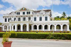 The Presidential Palace (former Governors house) on Independence Square in Paramaribo, Republic of Suriname, South-America