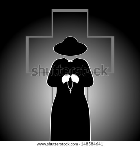 The priest on the background of the cross. Abstract illustration. The illustration on a black background.