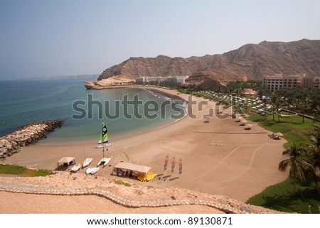The private beach belonging to the Shangri-la resort in Muscat, Oman