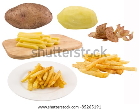 The process of making fried potatoes .Isolated on white