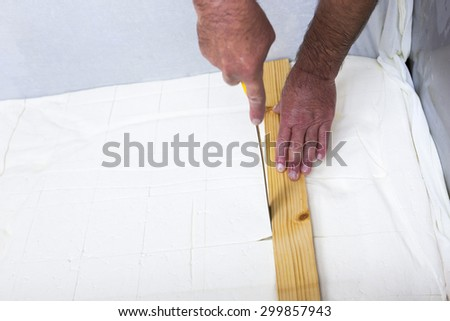 The process of producing tasty traditional white Bulgarian feta cheese at its final stage before packeting. Cutting cubes with a knife.