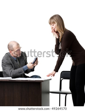 The professor and the student passing examination on a white background. - stock photo