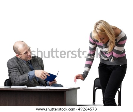 The professor and the student passing examination on a white background.