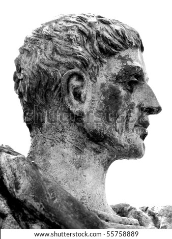The Profile Of A Bronze Statue Of Roman Emperor