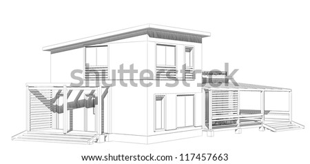 The project of residential house. 3D image.