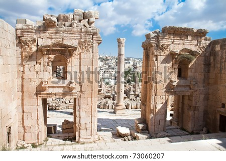 The Propylaea - a monumental gate of the Artemis Temple .Jerash (the Roman ancient city of Geraza).  Jordan.