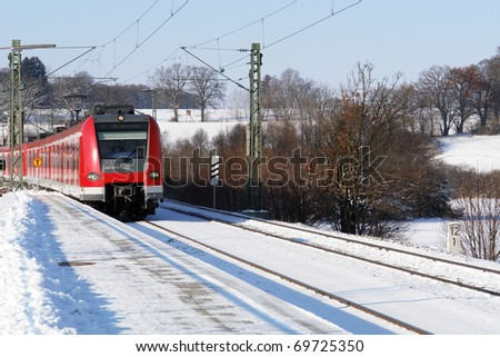 "The public train ""S-Bahn"" of Munich in Bavaria in wintertime"