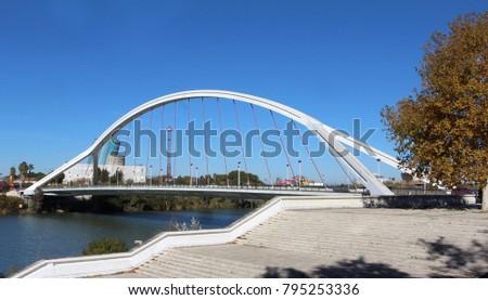Shutterstock The Puente de la Barqueta (bridge of the barges), officially named Puente Mapfre a bridge over the Canal de Alfonso XIII in Seville, Spain.