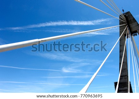 The Puente Real (Royal Bridge), a cable-stayed bridge in the city of Badajoz, Extremadura, western Spain #770963695