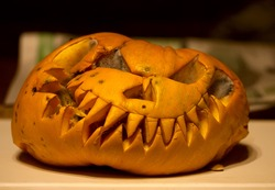 The pumpkin which remained to lie on the threshold after the celebration of the halloween and rotted