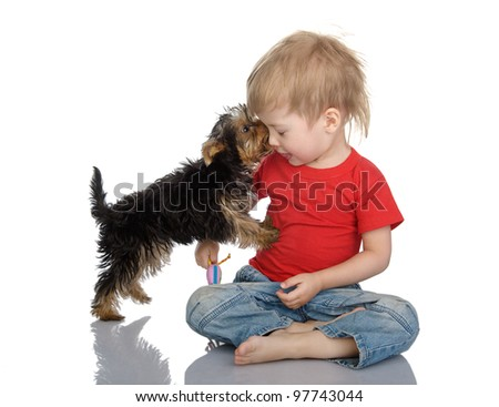 The puppy licks the child. isolated on white background