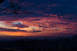 The purple colors of the dusk sky