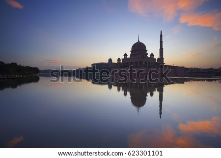 The Putra Mosque Putrajaya, Malaysia at beautiful sunrise. #623301101