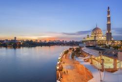 The Putrajaya Mosque, Kuala Lumpur, Malaysia at dusk