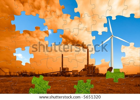 the puzzle to make this world a greener place to live - stock photo