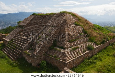 The pyramid and the ruins of  of Monte Alban - Oaxaca, Mexico