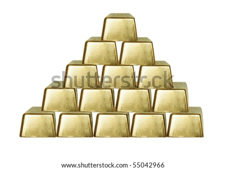 the pyramid from bars of gold on white background