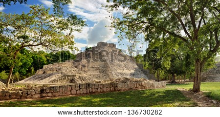 The pyramid in the ancient Mayan city of Edzna. Mexico.