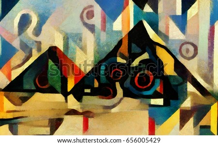 The pyramid of Cheops and the Sphinx in Egypt. Bright and vivid abstraction in the style of modern cubism, geometric elements. Executed in oil on canvas with acrylic painting. In the style of Picasso.