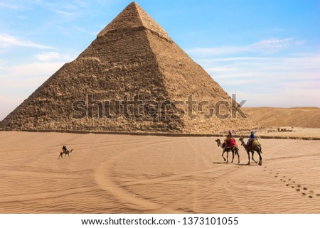 The Pyramid of Chephren and bedouins in the desert of Giza, Egypt #1373101055
