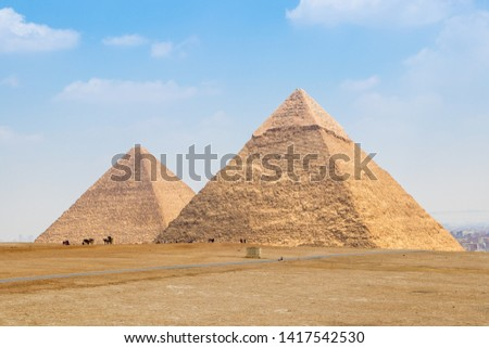 The Pyramid of Khufu and the Pyramid of Khafre in Egypt