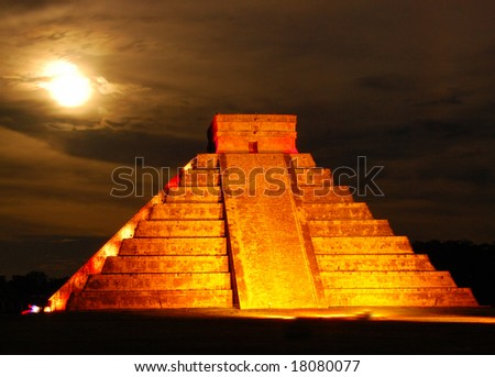 The pyramid of Kukulcan, often called El Castillo, at Chichen Itza, photographed under a full moon during a very special light show.