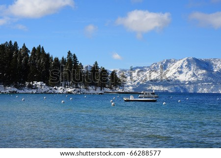 The Pyramid Peak and Mount Price mountain in lake tahoe beach in winter
