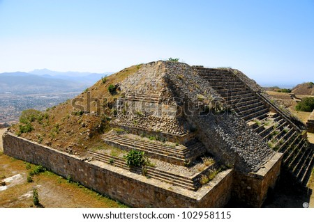 The pyramid ruins of Monte Alban - Oaxaca, Mexico