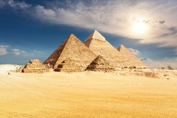 The Pyramids of Egypt, famous sight near Cairo, Giza