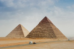 The pyramids of Giza in Egypt in mid winter