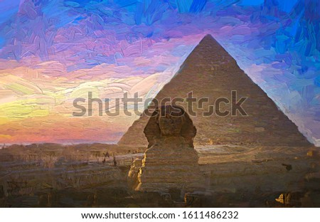 The Pyramids of Giza including The Great Sphinx during the evening colorful sunset. Cairo, Egypt. Abstract oil painting.