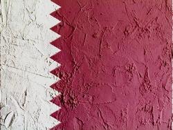 The Qatari flag painted on wall