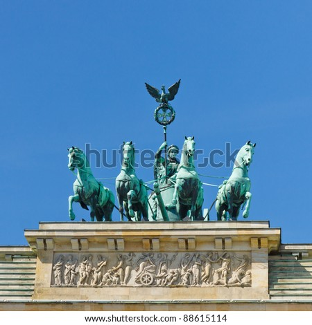 The Quadriga on the Brandenburger Tor (Brandenburg Gate) is one of the most famous landmarks in Berlin, Germany.