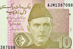 the Quaid-e-Azam Muhammad Ali Jinnah in National Dress i.e. Sherwani. Portrait form Pakistan 10 Rupees 2011 Banknotes.